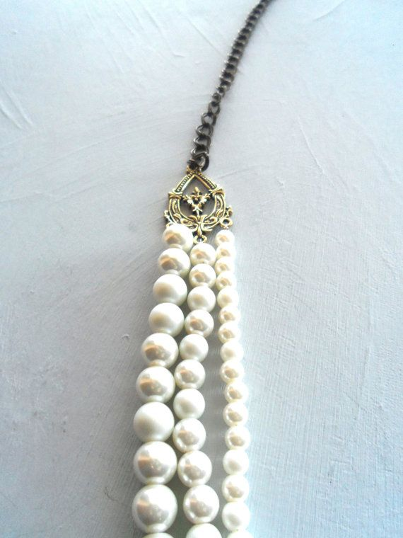 Three Tier Pearl Necklace Done with Antiqued and by AmanorJewelry, $24.50