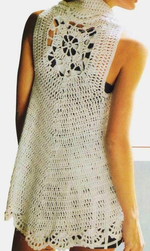 Chaleco ovalado con dibujo de una pieza - Patrones Crochet   crochet ...