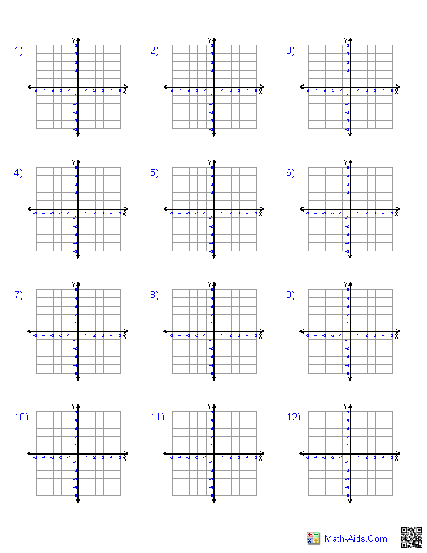 every combination of graph paper  different sizes quadrant