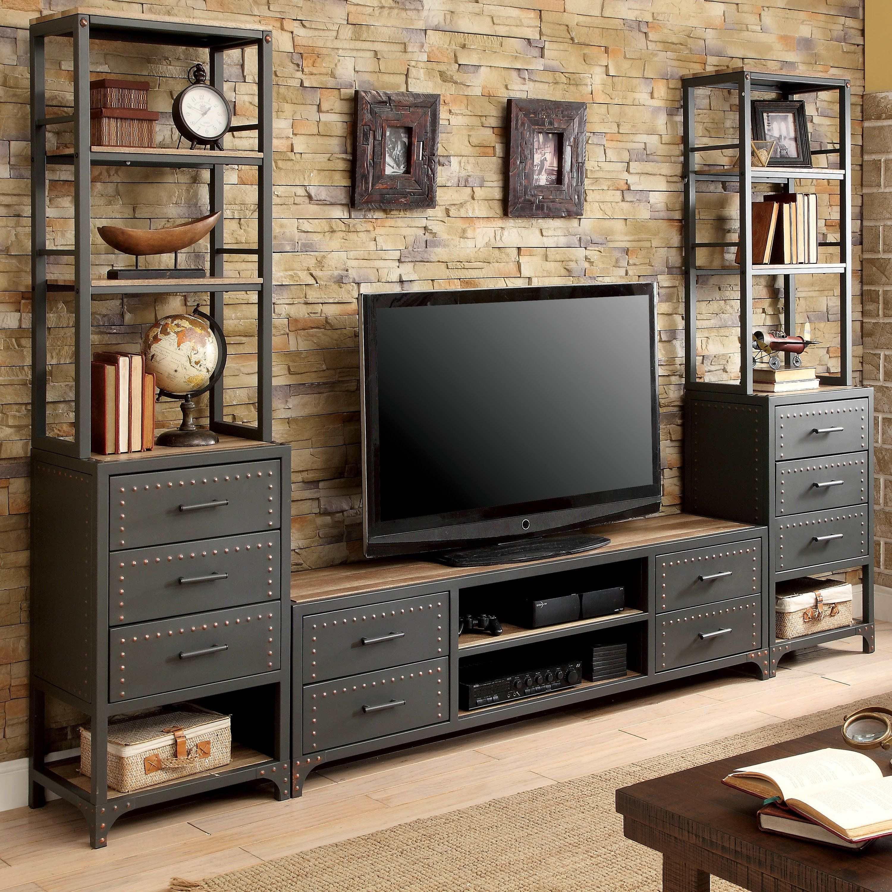 55 Industrial Style Tv Stand Modern Entertainment Center Metal Entertainment Center Entertainment Center Wall Unit