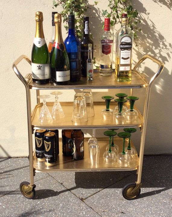 Bar cart rolling drinks trolley mid century modern tea trolley hostess home  bar table cabinet brass removable top tray Carefree Manchester