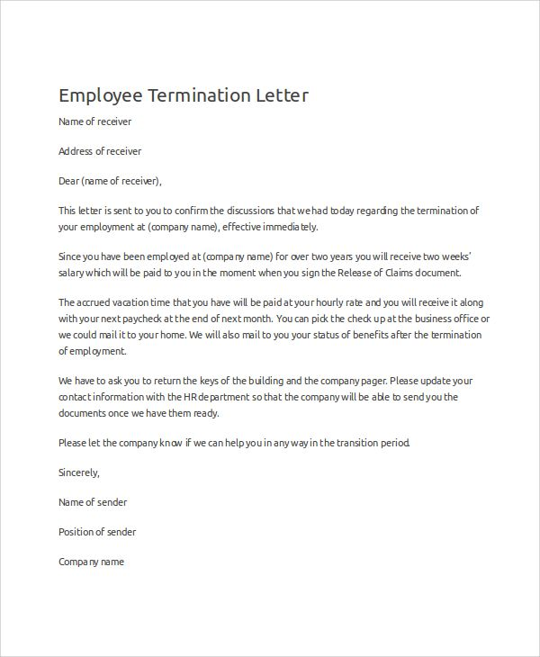 Sample Termination Letter Examples Word Pdf Employee  Home Design