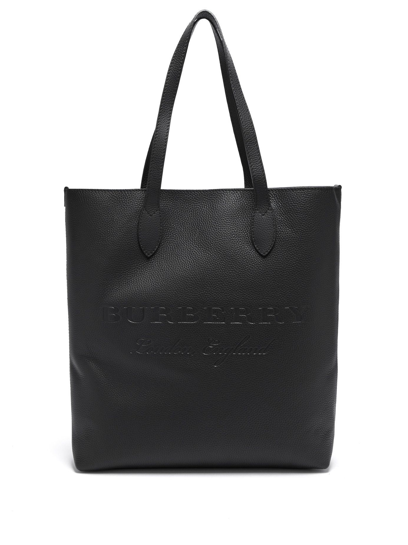 f844e98a24df Logo-debossed grained-leather tote