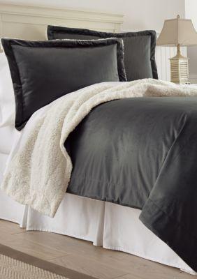 Amrapur Overseas  Micro Sherpa Comforter Set - Charcoal - Queen