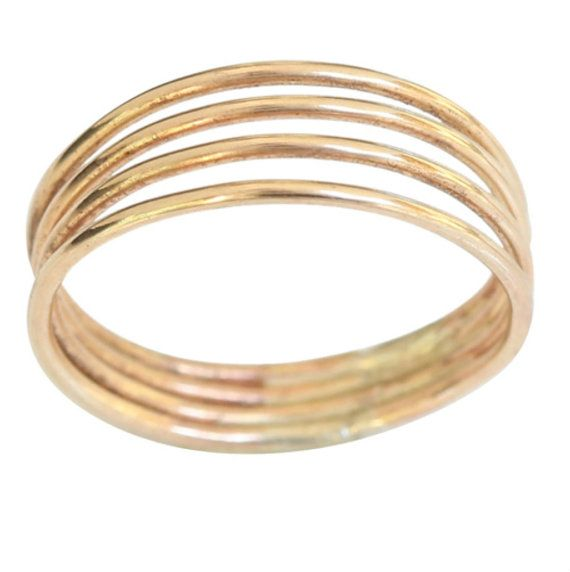 14k gold four band thumb ring finger ring size 9 by ToeRing pany