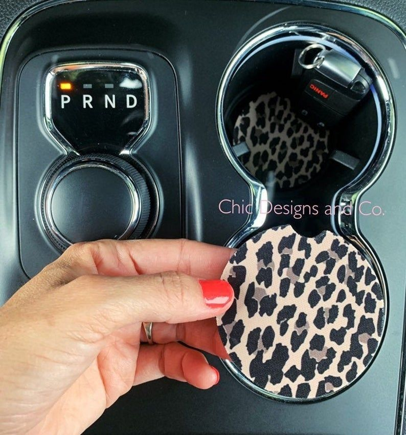 Photo of Leopard Car Coasters, Coaster Set, Cheetah Car Coasters, Leopard Coasters, Cup Holder Coasters, Rubber Coasters, Coasters, Cork Coasters