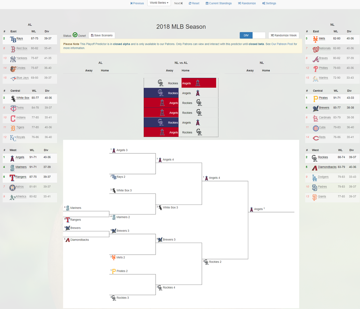 The Mlb Playoff Predictor S Status Is Officially Closed Alpha Mlb Playoffs Patreon