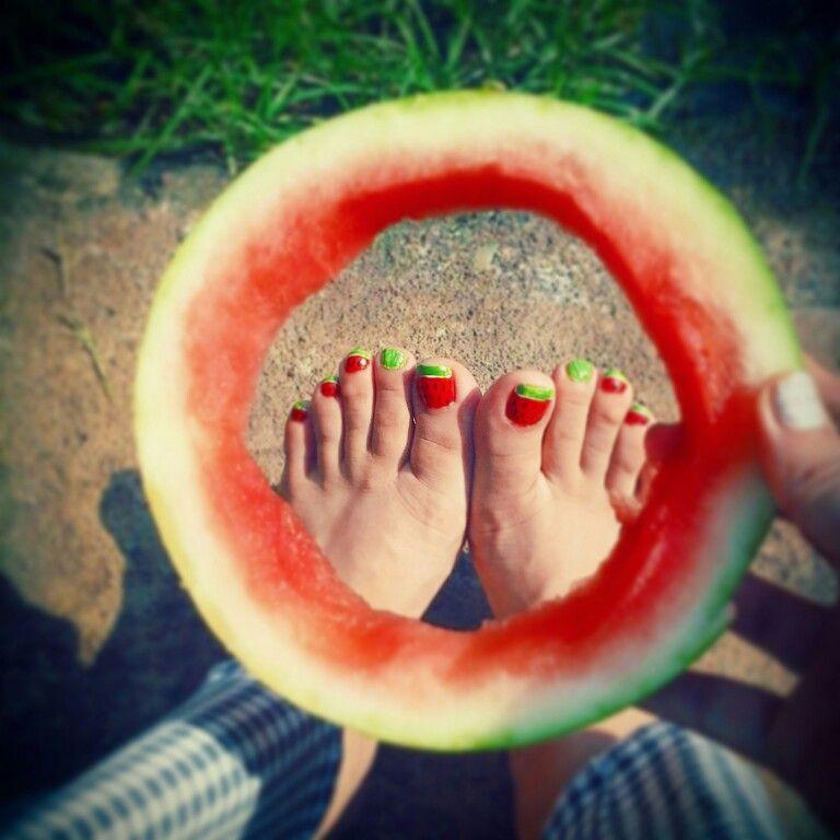 Uñas de sandia :) ♥ watermelon nails..  By~ me Adenails. •~•