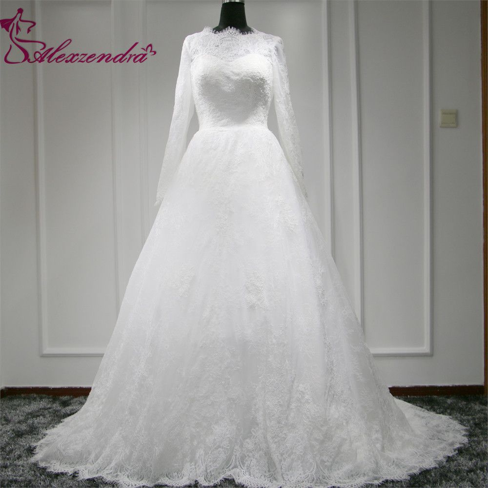 Real photo custom made new a line lace wedding dresses long sleeves