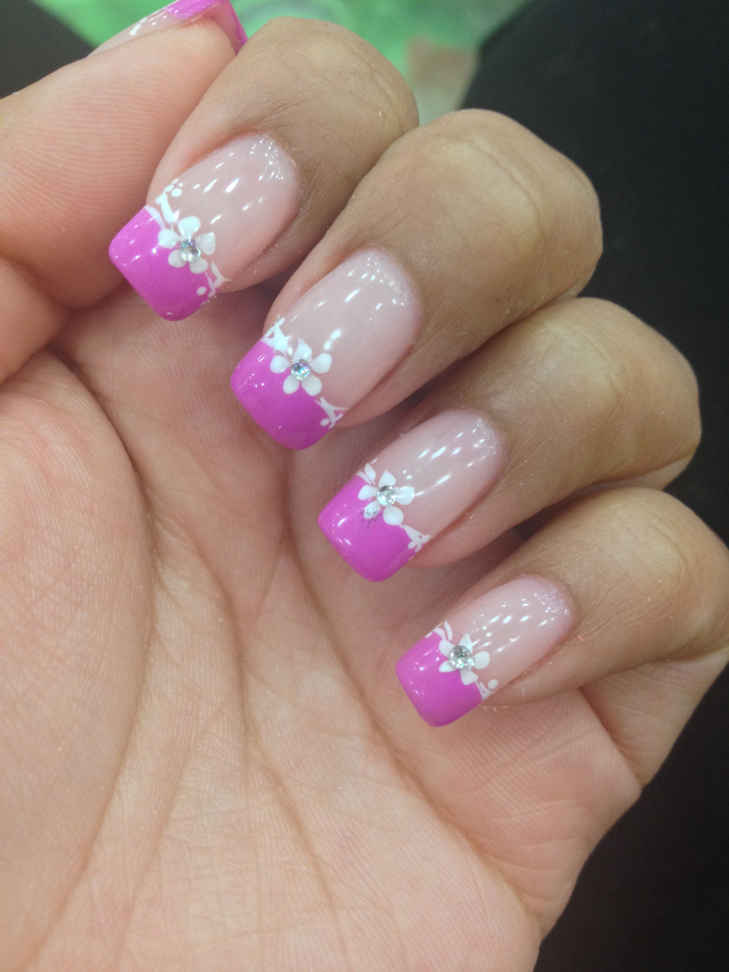 Pink French tip nails with design | nails | Pinterest | Spring nails ...