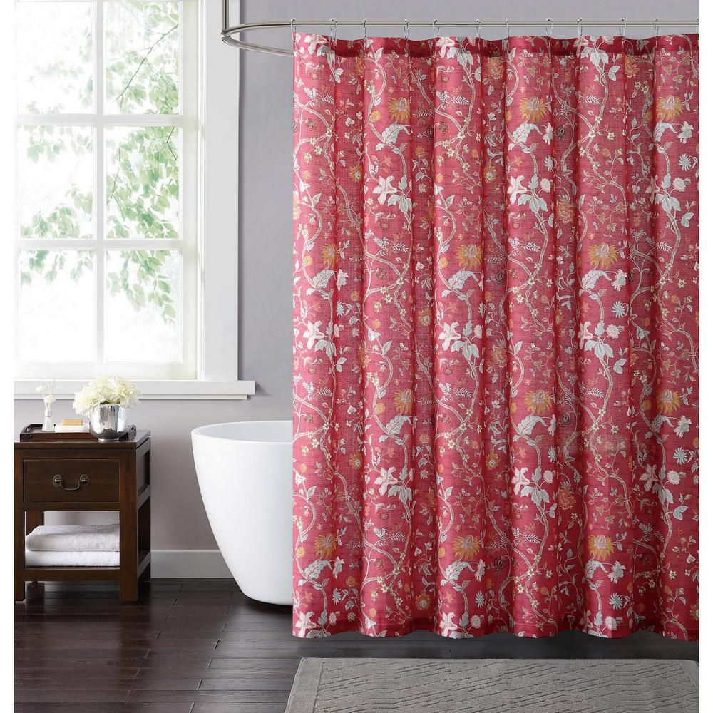 Red And Neutral Shower Curtain