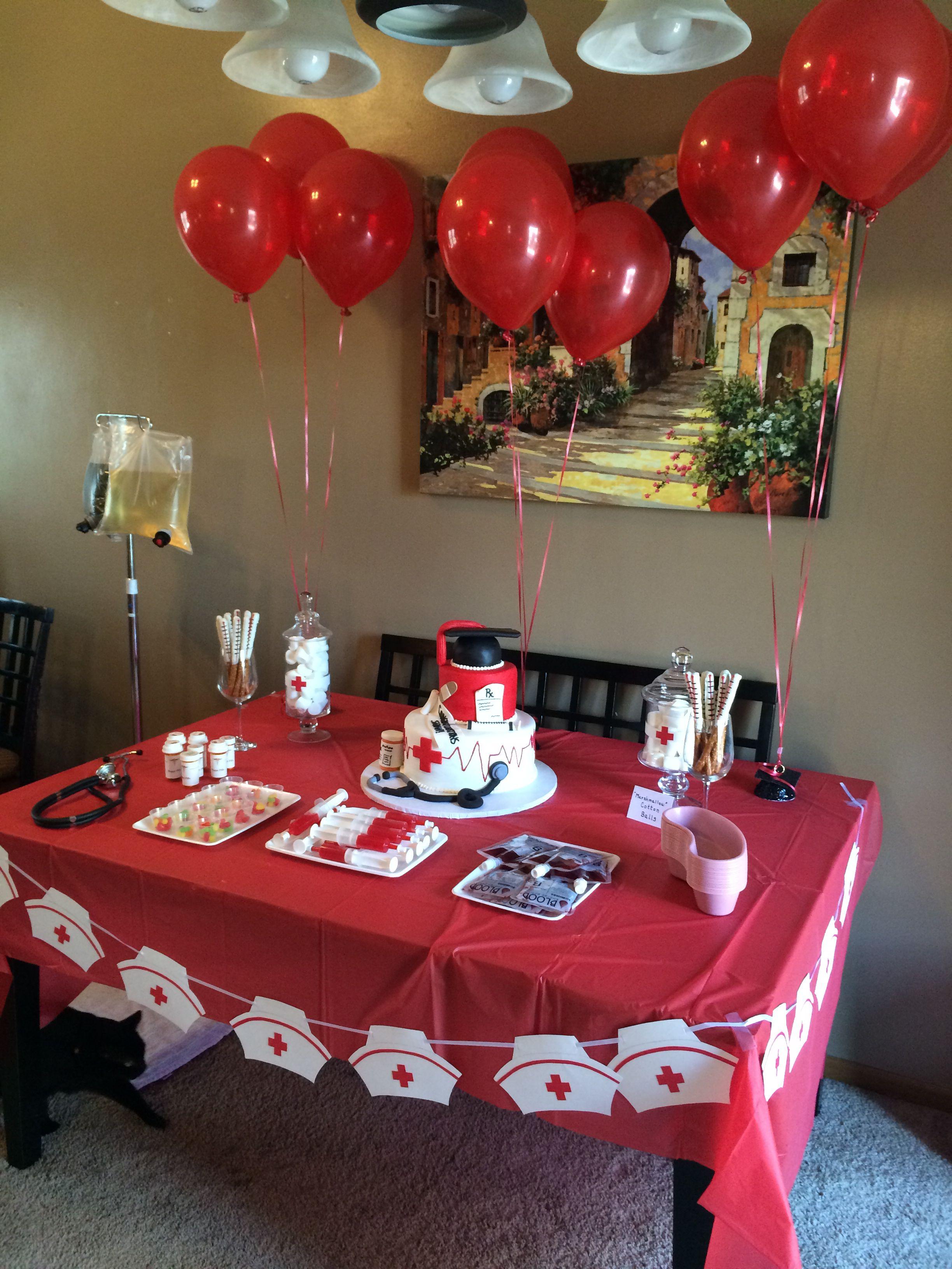 Table decor nursing graduation party pinterest