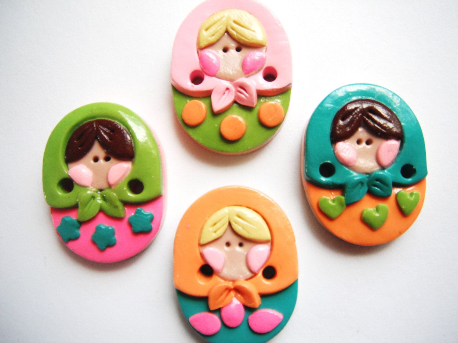 Button Russian Nesting Dolls handmade polymer clay buttons ( 4 ). $9.00, via Etsy.