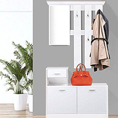 IDMarket - Meuble vestiaire d\u0027entrée bois blanc portes blanches avec