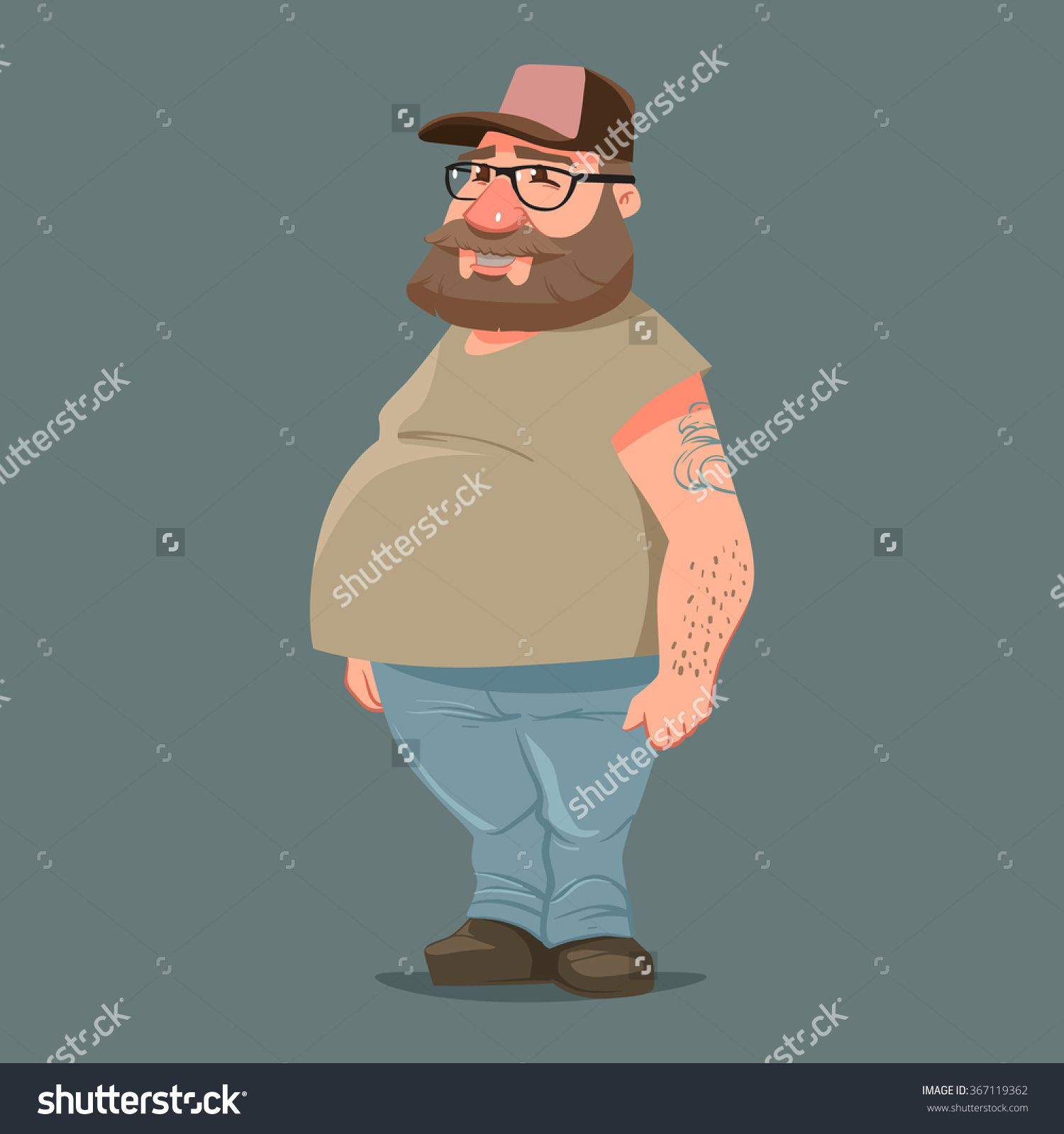 fa822ab0 Funny Cartoon Character, Truck Driver With Beard In Trucker Cap, Vector  Color Illustration - 367119362 : Shutterstock