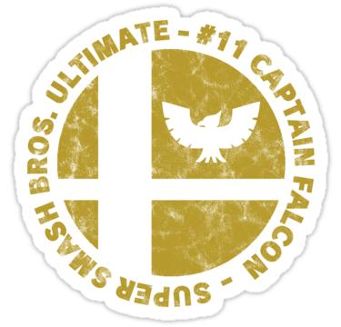 Captain Falcon Main Super Smash Bros Ultimate Character Emblem Worn Logo Sticker By Surik Super Smash Bros Smash Bros Smash