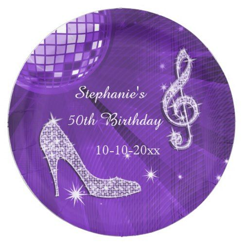 Purple Disco Ball and Heels 50th Birthday Paper Plate | Girl\u0027s Birthday Party Ideas | Pinterest | Disco ball Discos and Birthdays  sc 1 st  Pinterest & Purple Disco Ball and Heels 50th Birthday Paper Plate | Girl\u0027s ...