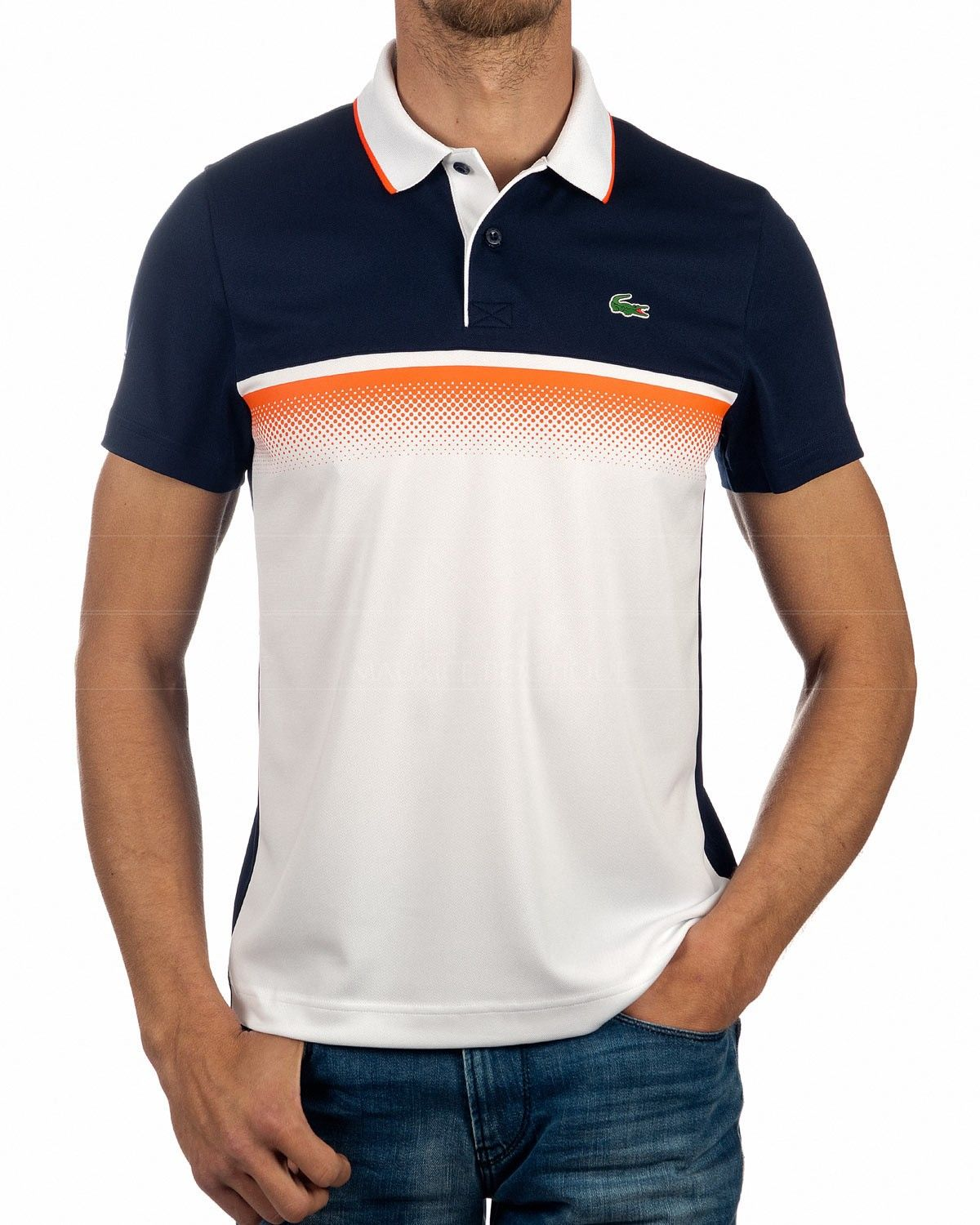 Polo Shirt Lacoste Sport White Coral & Blue in 2020