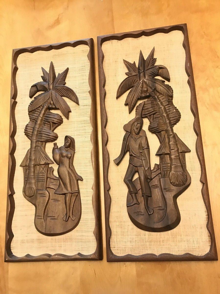 Vintage Mid Century Tiki Style Carved Wall Art Wood Burlap. Rare and ...