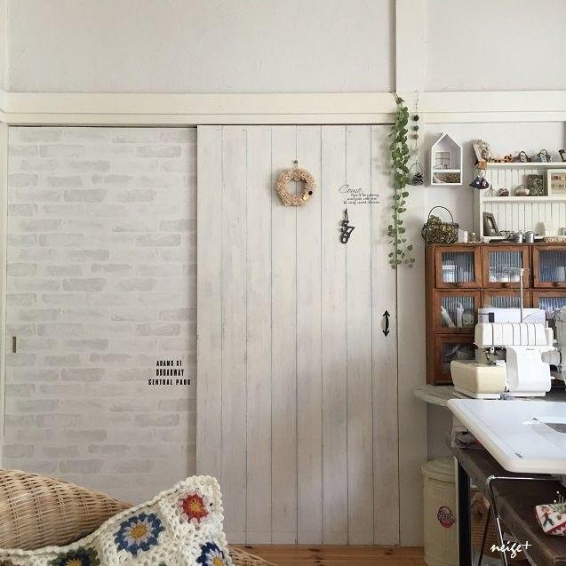ふすまの大きな扉もべニア板でリメイクdiy 賃貸でもタッカーを使えば