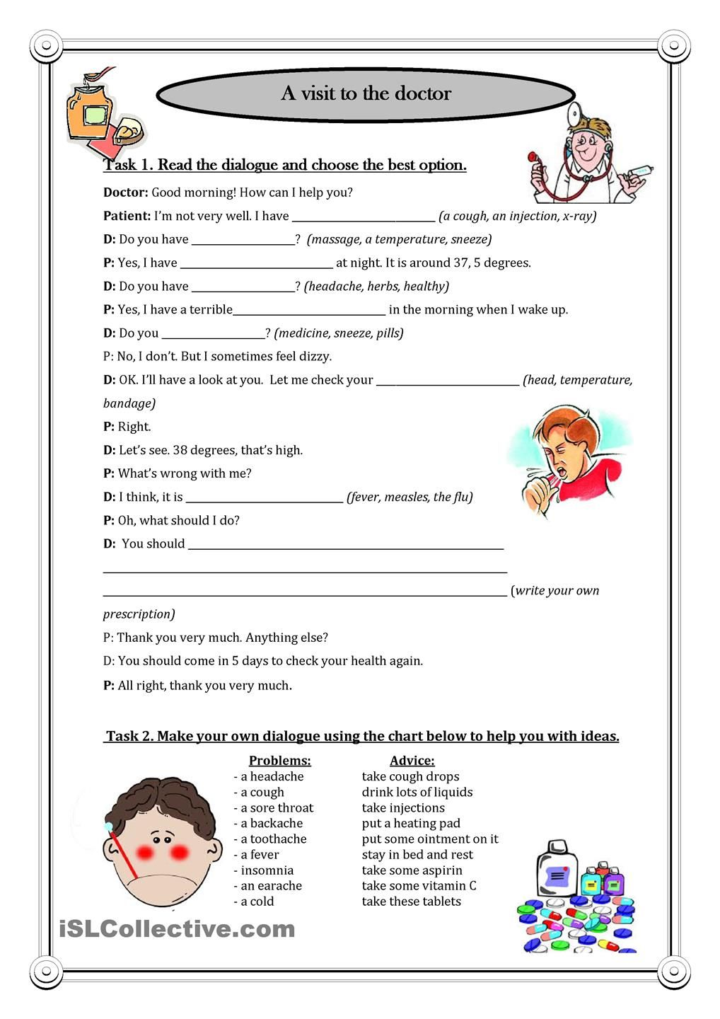 A visit to the doctor | ESL worksheets of the day | Pinterest