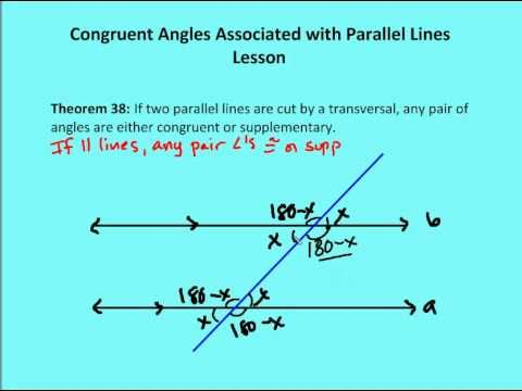 53 Congruent Angles Associated with Parallel Lines (Lesson) Angle