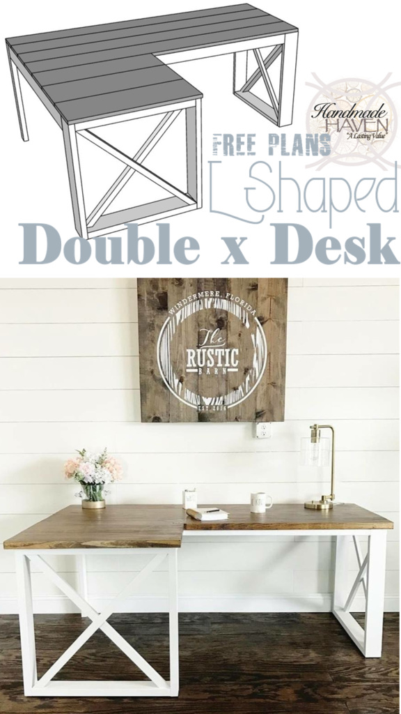 new photos 5e038 ac72a L Shaped Double X Desk | farmhouse desk | Diy office desk ...