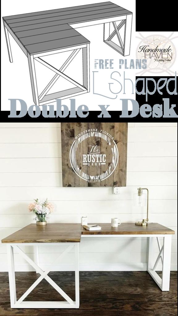 L Shaped Double X Desk Diy Office Desk Woodworking Projects Diy