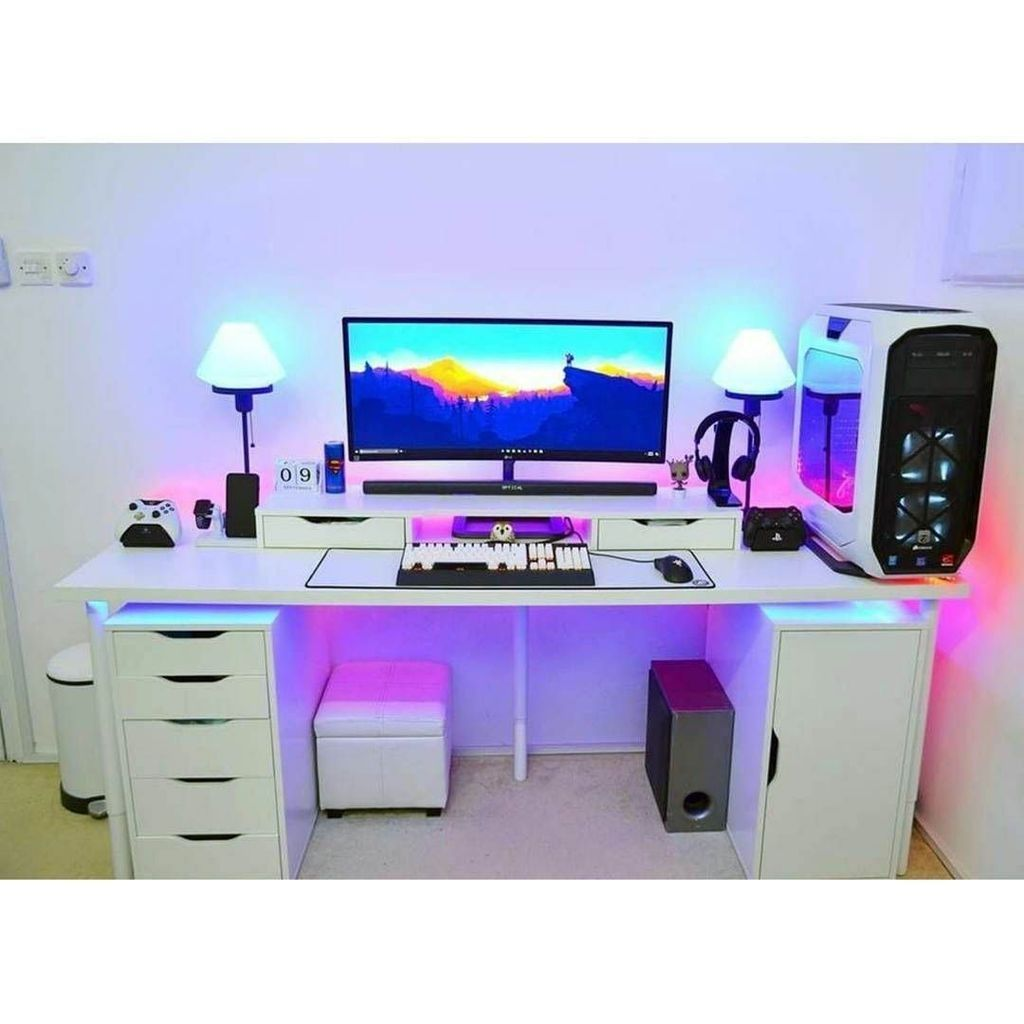 37 The Best Gaming Desk Decor Ideas With Computer Setup Game Room Design Video Game Rooms Game Room Decor