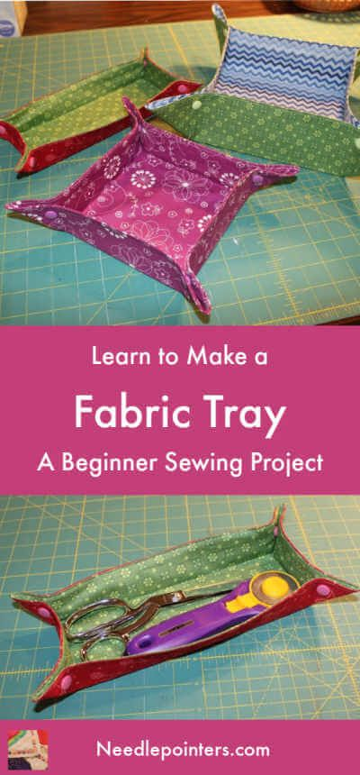 Click to learn to make this easy Fabric Tray with our free video and photo tutorial.  This fabric tray features Kam Snaps on the corners for extra decoration.  They also can be stored flat!