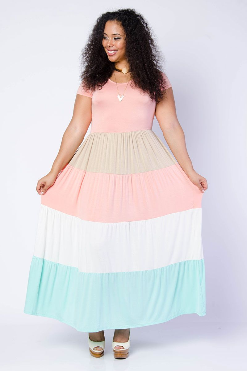 Pastel Color Block Maxi Dress | moda gorda | Pinterest | Moda ...