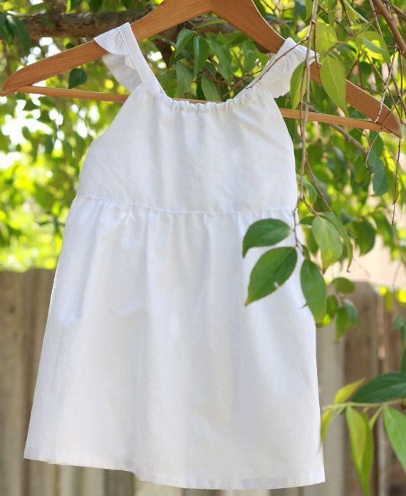Crisp White Toddler Sundress by LuliJayne on Etsy