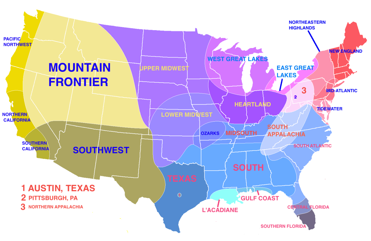 A Very Accurate Map Showing Regions Based On Climate Social And - Accent map of us