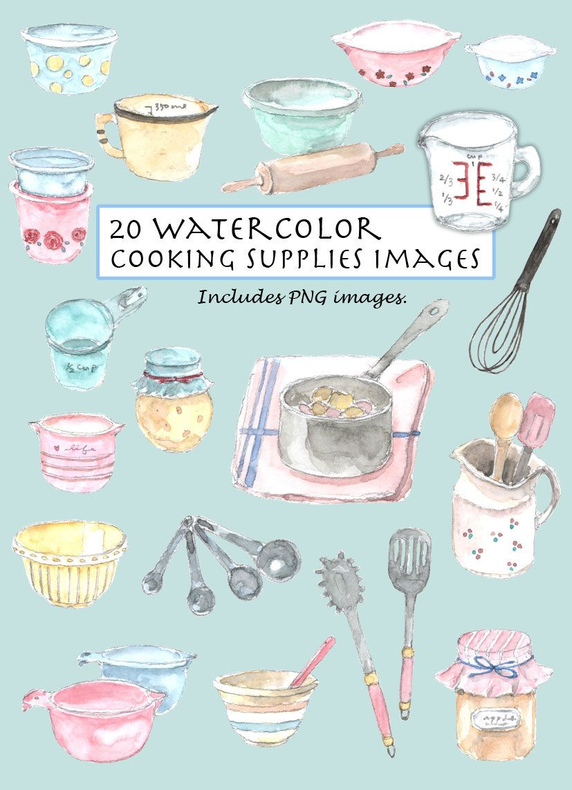 Clip Art Watercolor Vintage Cooking Supplies Set 20 Images