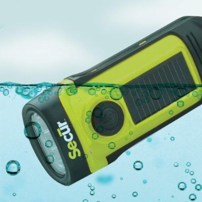 Secur Waterproof Hand crank or built in Solar powered 3 LED Flashlight, High power 3 functions LED, Dynamo powered no batteries needed, waterproof up to 45 feet
