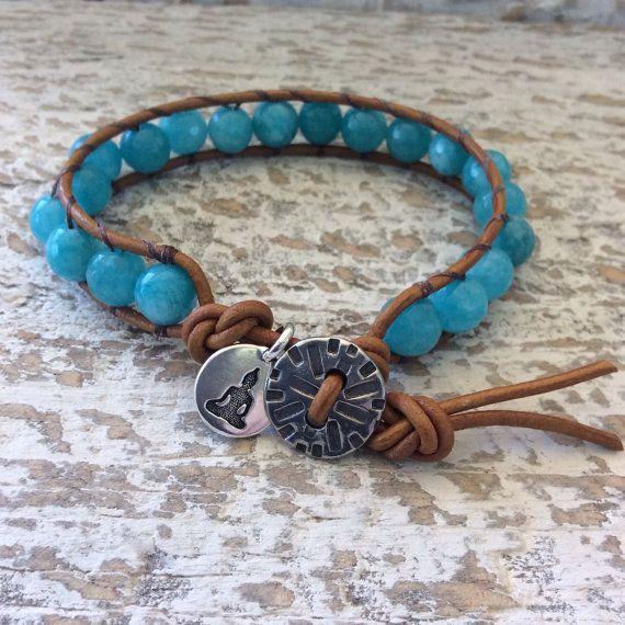 Beaded wrap bracelet teal bracelet leather and by rubybluejewels