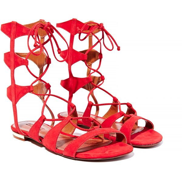 Schultz Erlina Gladiator Sandal (1,280 CNY) ❤ liked on Polyvore featuring shoes, sandals, red, schutz shoes, greek sandals, schutz sandals, schutz footwear and gladiator sandals