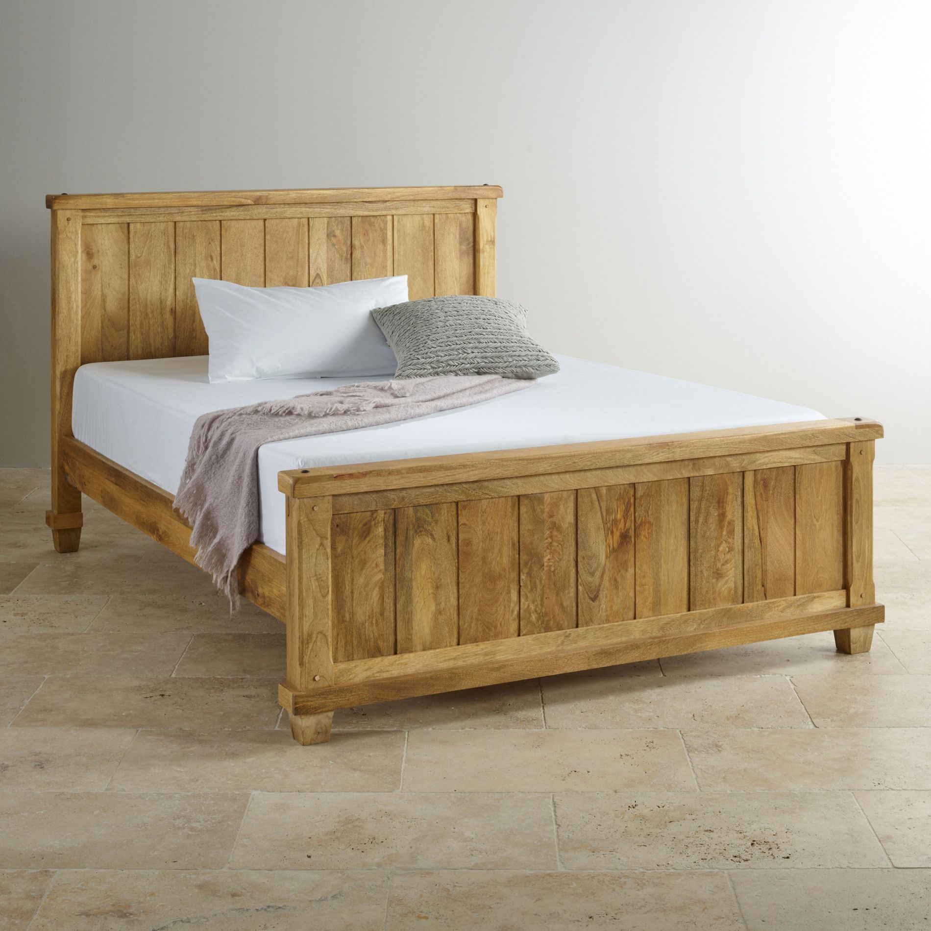 Oak Furniture Land Beds Baku Light Mango King Size Bed From The Baku Light Solid Mango