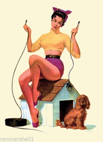 1940s Pin-Up Girl /& Cocker Spaniel Puppy Dog Vintage Pin Up Poster Print Art