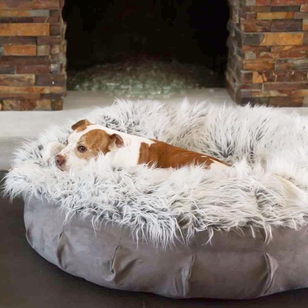 Dog Ate Corner Of Rug: Faux Fur Shag Puff™ Luxury Dog Bed