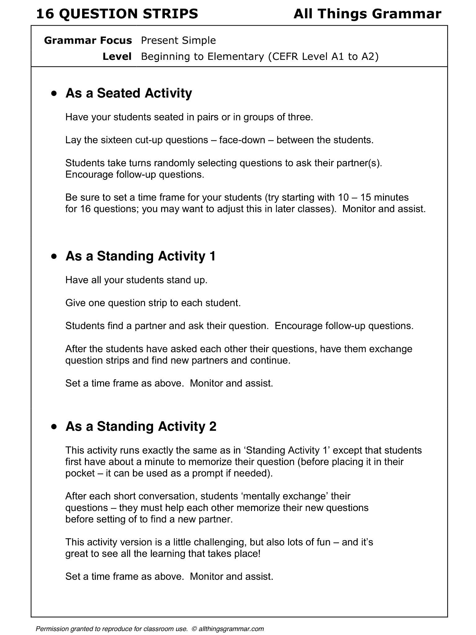 English Grammar Discussion Practice Present Simple 16