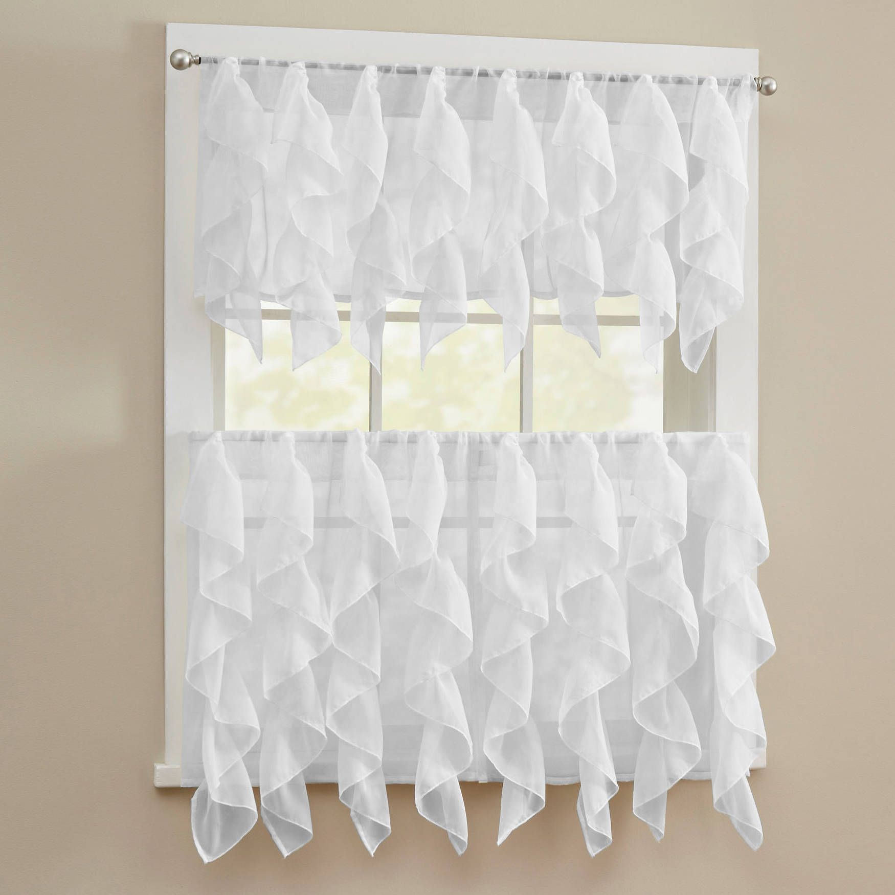 N chic sheer voile vertical ruffled tier window curtain valance and