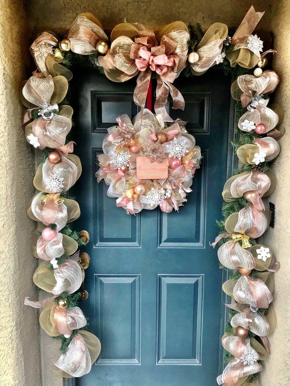 Christmas Decor Gold Rose Gold Christmas Wreath Rose Gold Wreath