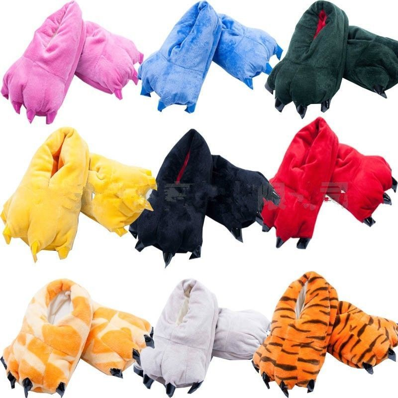 f79c92a66feca Sale Unisex Cosplay Plush Slippers Monster Animal Paw Warm Indoor ...