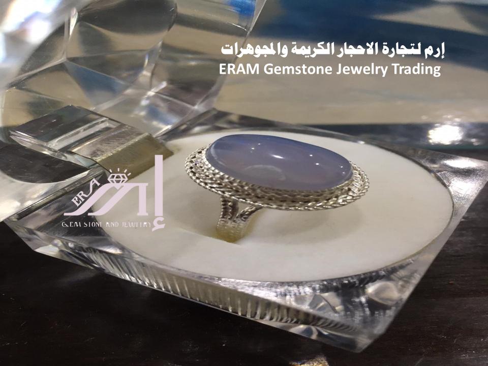 خاتم عقيق يمني نسائي ازرق سماوي طبيعي 100 Agate Gemstones Gemstone Jewelry Jewelry