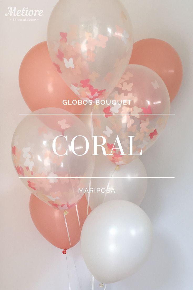 Bolsa con 6 Globos de colores (Coral y Blanco Perla) y 3 Globos ...
