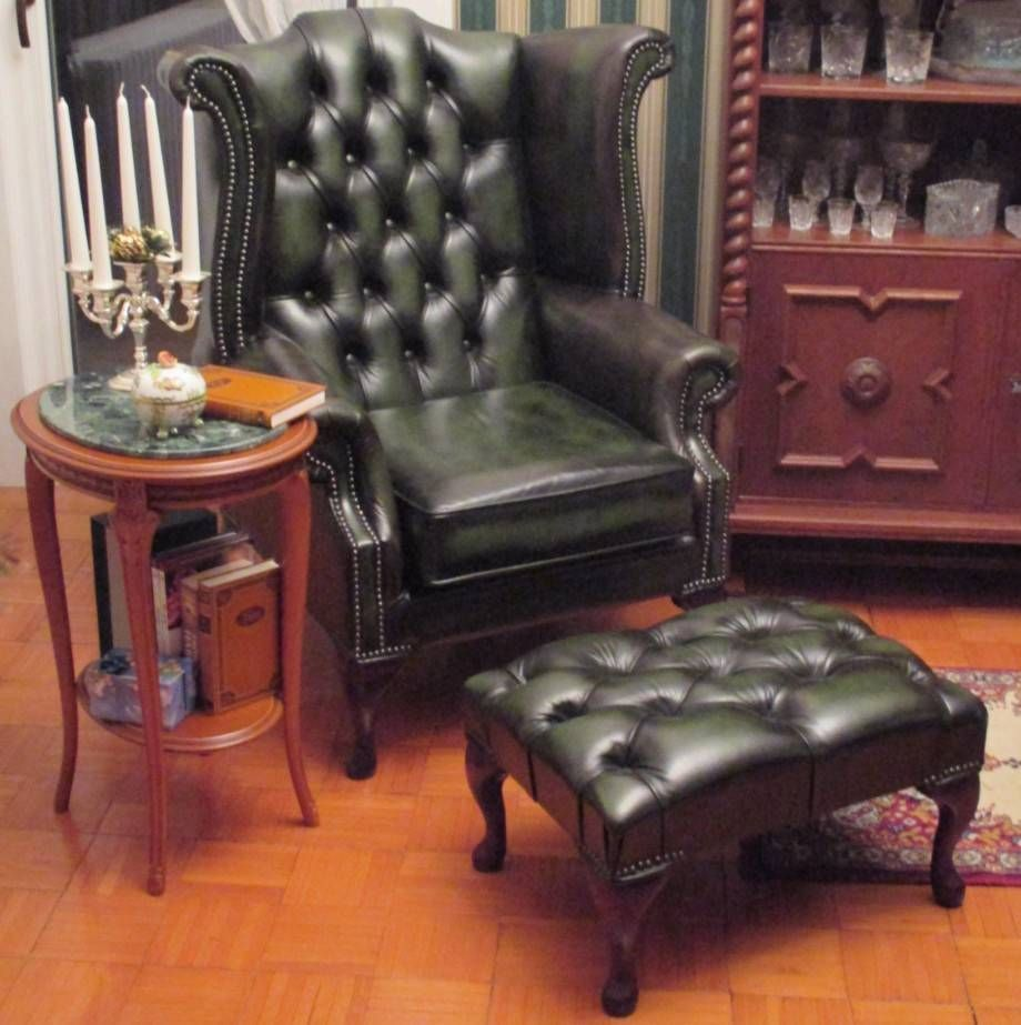 Chesterfield Queen Anne High Back Wing Chair Antique Green Leather Footstool