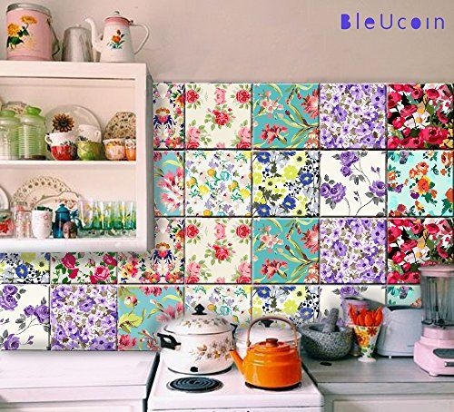 Floral Style Peel Stick Kitchen Bathroom Tile Stickers Https