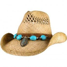 b31ba27f227 Large Turquoise Stones Crushable Straw Hat