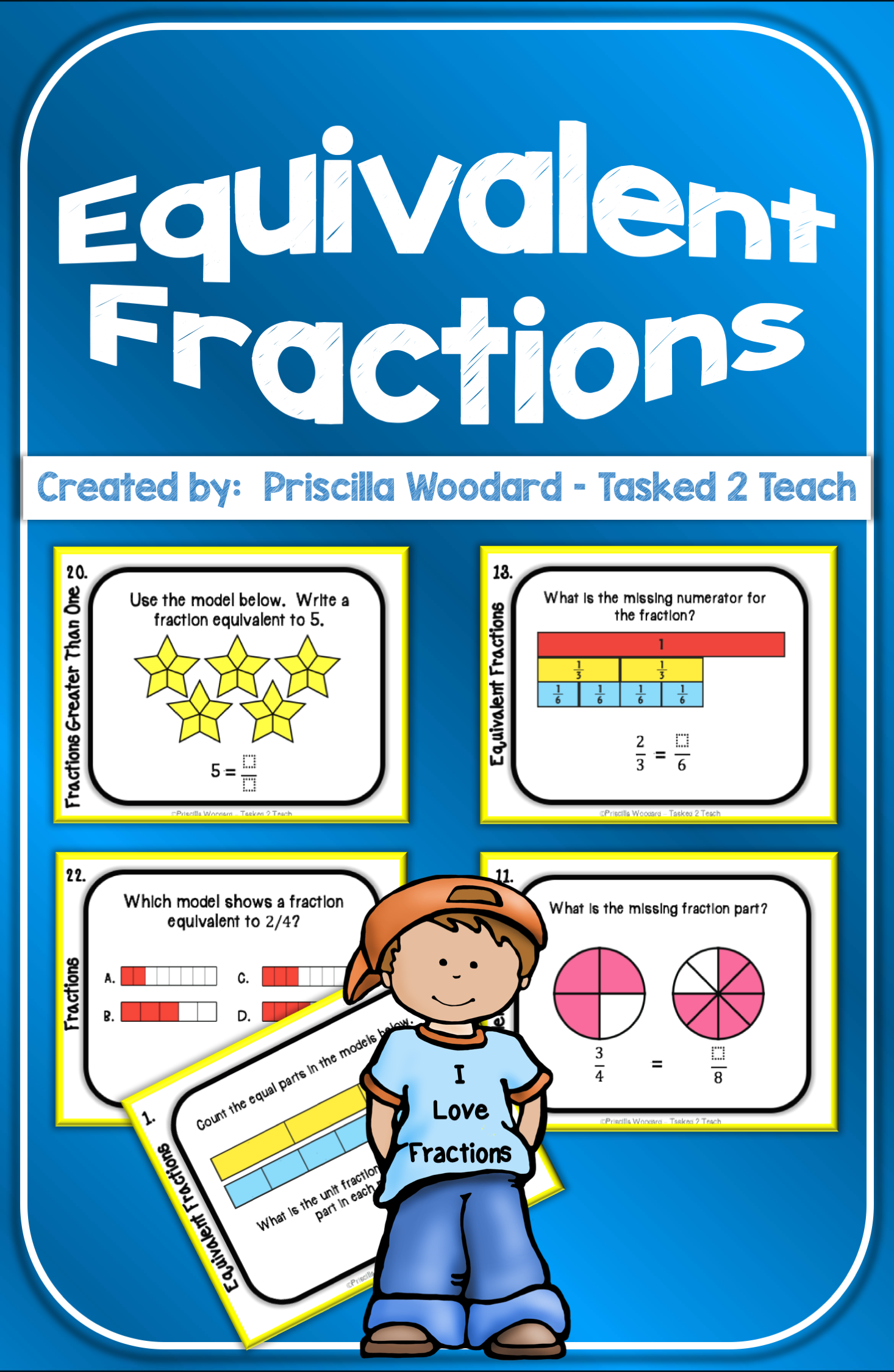 3rd Grade Equivalent Fractions Task Cards
